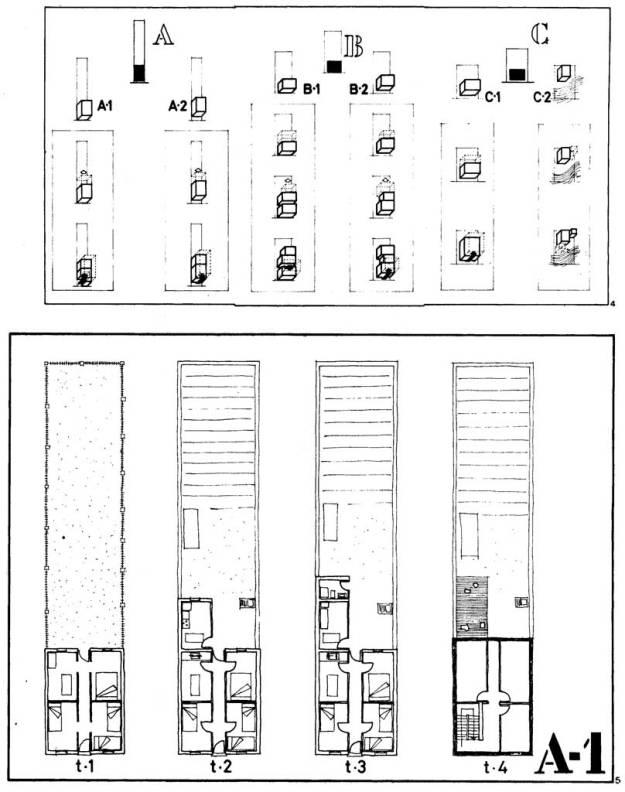 Estudi realitzat pel Laboratori d'Urbanisme de l'Escola Tècnica Superior d'Arquitectura de Barcelona relatiu al procès d'ampliació d'una «corea» d'autoconstrucció. Imatge amb @ (drets d'autor, veure nota 7)